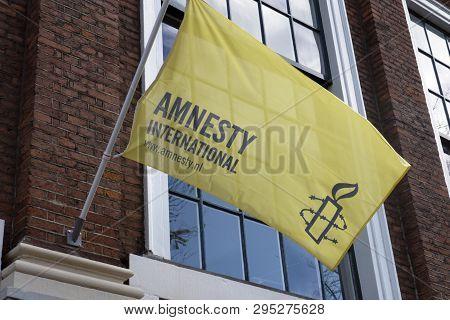 Flag Of Amnesty International In Amsterdam