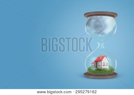 3d rendering of hourglass with little detached house on green lawn in lower half of hourglass, with big grey raining cloud in its upper half. poster