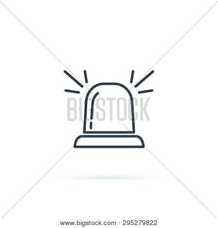 Siren Icon Symbol. Urgency, Emergency Concept Sign With Alarm Flashlight. Embulance Equipment Icon.