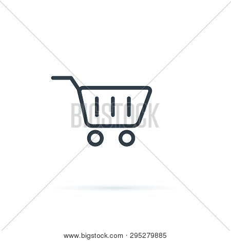 Shopping Icon Vector. Shopping Cart Icon. Buy Button For Ecommerce Shop. Purchase Shop Sign, Line Ba