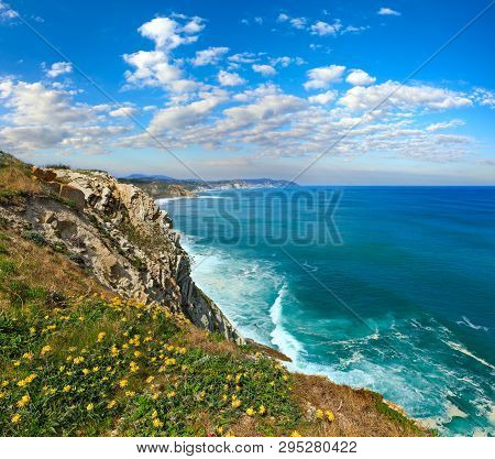 Summer Ocean Coastline View Near Beach Azkorri Or Gorrondatxe In Getxo Town, Biscay, Basque Country,