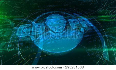 Gdpr General Data Protection Regulation Act With Fase Symbol On Digital Background. Privacy Safety I