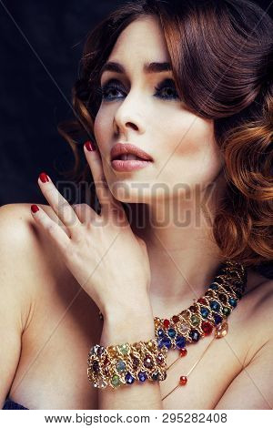 Beauty Rich Woman With Bright Makeup Wearing Luxury Jewellery Looks Like Mature Close Up, Fashion La