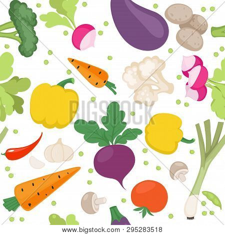 Seamless Pattern From Fresh Vegetables Radishes, Carrots, Tomatoes, Beets, Mushrooms, Shallots On A