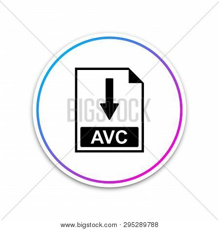 Avc File Document Icon. Download Avc Button Icon Isolated On White Background. Circle White Button.