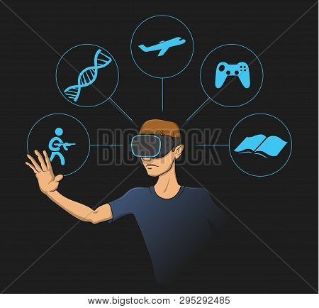 Young Man Wearing Virtual Reality Head-set With Virtual Items Around Him. Flat Vector Illustration