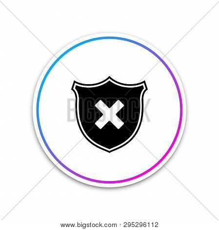 Shield And Cross X Mark Icon Isolated On White Background. Denied Disapproved Sign. Protection And S