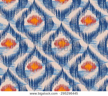 Vintage Vector Seamless Pattern In Ikat Style. Retro Ikat Blue Pattern.