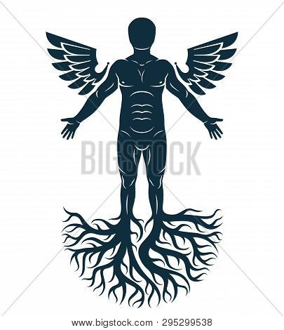 Vector Graphic Illustration Of Strong Male, Body Silhouette Standing On White Background And Made Us