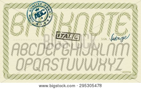 Vector Font From A To Z Created Using Guilloche Ornate, Decorate Waves. For Use As Bank Notes Or Bon