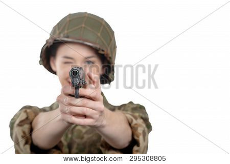 A Pretty Young Woman Dressed In Ww2 American Military Uniform With Handgun