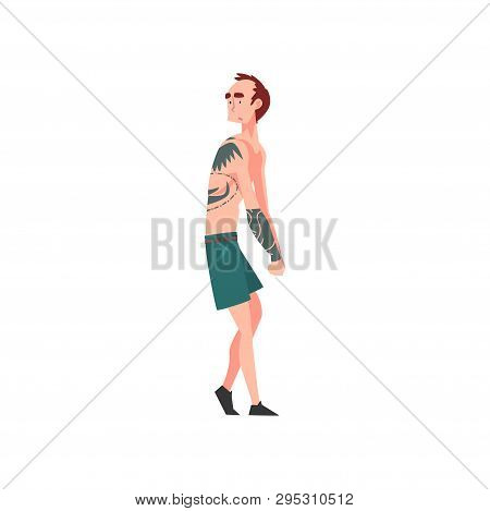 Skinny Man With Tattoo, Tattooed Guy With Bare Chest Vector Illustration