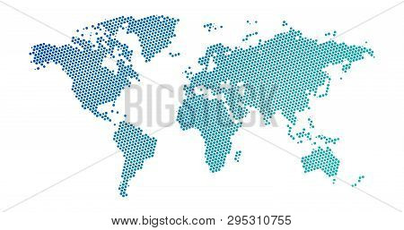 Black Halftone Dotted Blue Gradient World Map. Vector Illustration. Dotted Map In Flat Design. Vecto