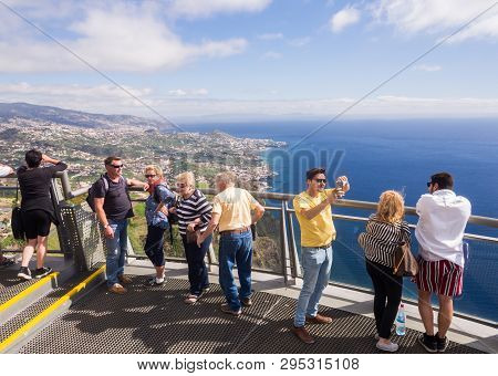 Madeira, Portugal - November 02, 2018: Tourists At Cabo Girao Skywalk Viewpoint. Funchal, The Capita