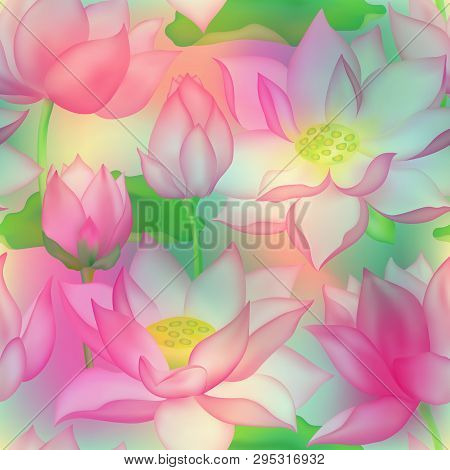 Lotus Buds And Flowers Seamless Vector Pattern. Water Lilly Nelumbo Aquatic Plant Floral Graphic Des
