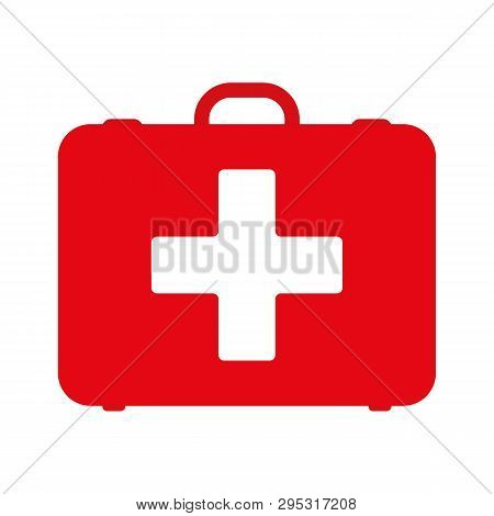 First Aid Kit. White First Aid Kit Isolated On Blue Background. Health, Help And Medical Diagnostics