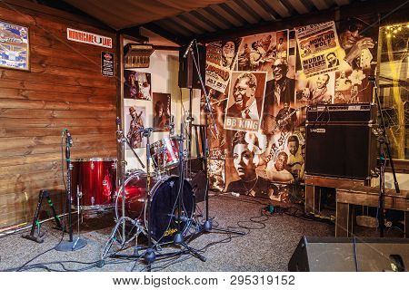 Kiev, Ukraine-march 19, 2018. A Small Stage With Musical Instruments For The Performance Of Musician