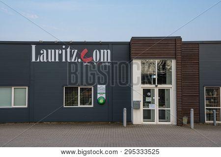 Naestved Denmark - April 13. 2018: Lauritz Auction Hal Building