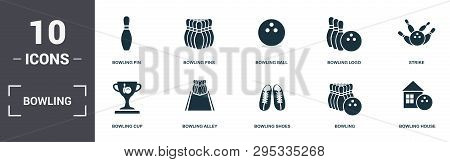 Bowling Set Icons Collection. Includes Simple Elements Such As Bowling Pin, Pins, Bowling Ball, Logo