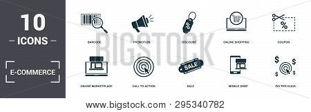 E-commerce Set Icons Collection. Includes Simple Elements Such As Barcode, Promotion, Discount, Onli