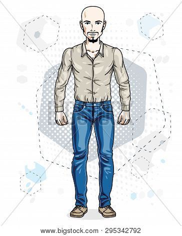 Confident Handsome Hairless Young Man Standing. Vector Illustration Of Male With Beard And Whiskers