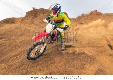 Amazing Motocross Rider . Motorbike Sport Raider Concept .