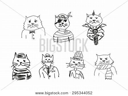 Set Of Funny Sketches Of Cats. Imitation Of Children's Drawings. Sketchy, Scribble. Vector Illustrat