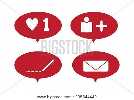 Set Notifications For Social Networks. Like, Message, Comment, Subscriber. Isolated Vector Illustrat