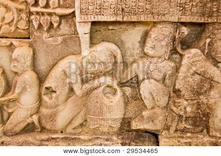 Ancient Khmer carving lice picking
