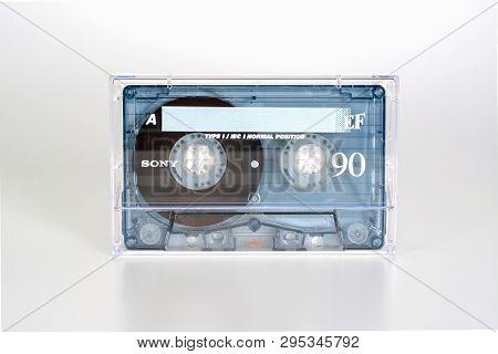 Prague, Czech Republic - February 20, 2019: Audio Compact Cassette Sony Ef 90 Normal Position, In Pl