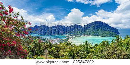 Panoramic View Over Tonsai Village, Phi Phi Island, Thailand