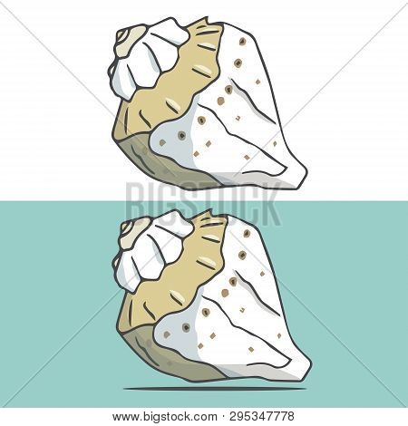 Hand Drawing Of A Sea Gold Cockleshell. Vector Art Illustration On White Background