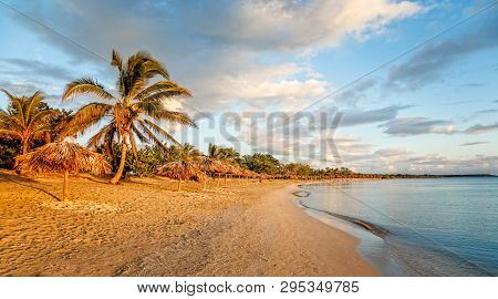 Rancho Luna Sandy Beach With Palms And Straw Umbrellas On The Shore, Cienfuegos, Cuba