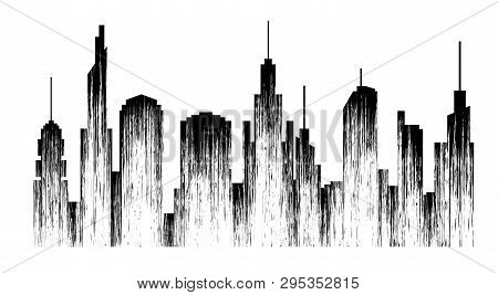 Megapolis. Abstract City Black Silhouette. Cityscape With A Unique Texture. Isolation. Vector