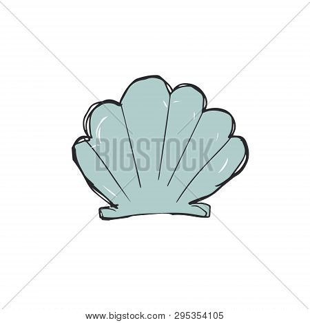Hand Drawing Of Sea Cockleshell. Vector Art Illustration On White Background