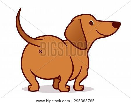 Cute Wiener Sausage Dog Vector Cartoon Illustration Isolated On White. Simple Drawing Of Friendly Da