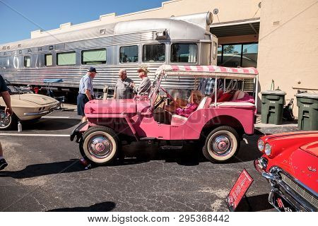 Naples, Florida, Usa - March 23,2019: Pink 1961 Barbie Jeep At The 32nd Annual Naples Depot Classic