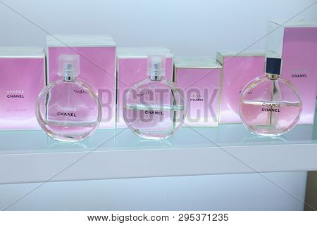 Haarlem, The Netherlands - October 6th 2018: Different Sorts Of Chance Chanel Perfume On Display In