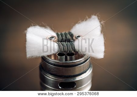 Vape Rda  For Vaping With Coils And Cotton, Macro Photo