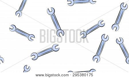 Texture, Seamless Pattern Of Metal Iron Blue Gas Spanners, Metalworker Building Repair For Loosening