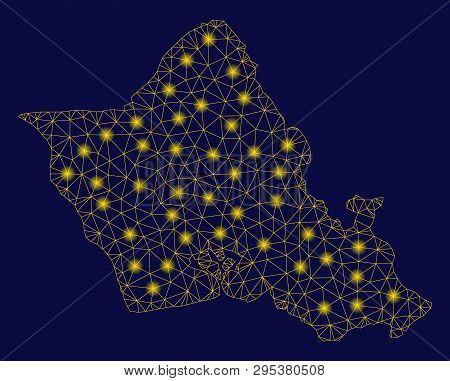 Bright Yellow Mesh Oahu Island Map With Glare Effect. Wire Carcass Triangular Mesh In Vector Eps10 F