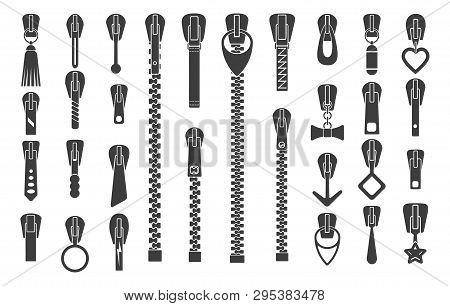 Zipper Silhouettes. Zip Pulls Or Zipper Pullers Vector Illustration, Black Zip Lock Stock Collection