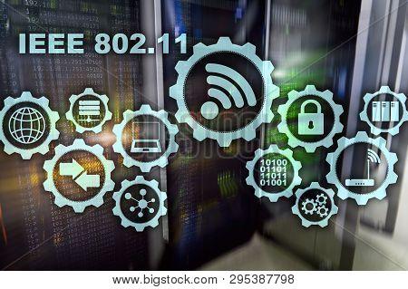 Wireless Data Transmission Concept Ieee 802.11. Server Background