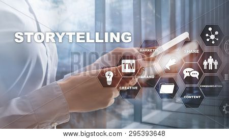 Storytelling. Story Telling Financial Business Concept. Abstract Blurred Background.