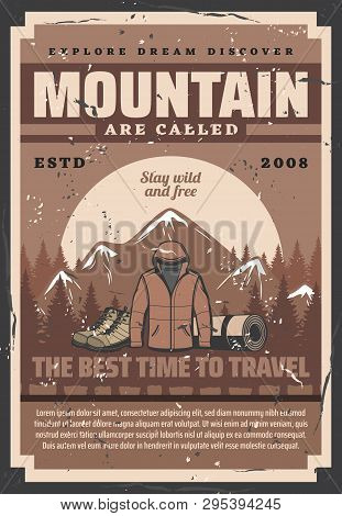 Mountain Outdoor Adventure, Forest Camp, Travel Expedition And Trekking Activity Retro Vector Poster