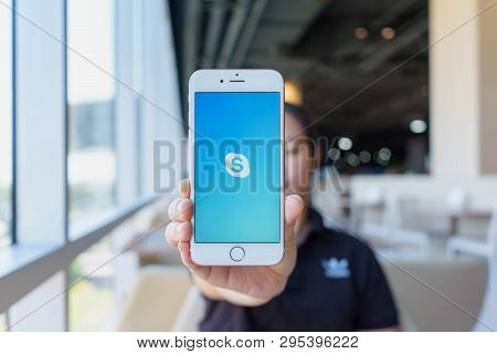 Chiang Mai, Thailand - Feb 22,2018: Woman Holding Apple Iphone 6s Rose Gold With Skype Apps. Skype I
