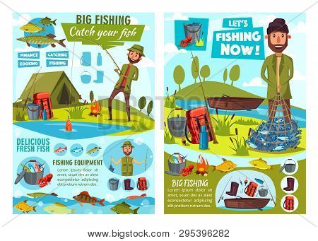 Fishing Sport, Fisherman Equipment And Fish Catch Vector Posters. Fishing Camp With Fishers, Rod And