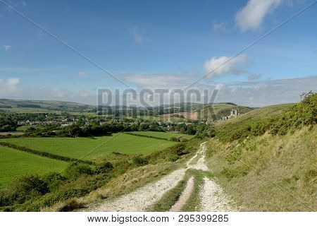 The Path Over The Ridge Of Ballard Down Above Corfe In Dorset