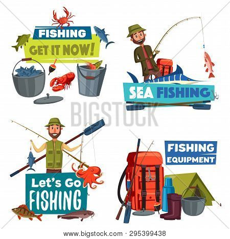 Fishing Sport And Fisherman Equipment Vector Icons. Fishers Or Anglers With Fish Catch, Fishing Rod,