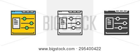 Web site options con. Line, glyph and filled outline colorful version, web page configuration outline and filled vector sign. Symbol, logo illustration. Different style icons set. Vector graphics poster